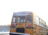 Bus in snow photo