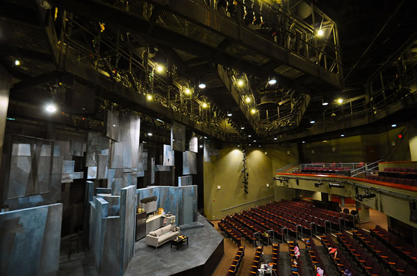 We have the perfect view of the theater from the balcony.