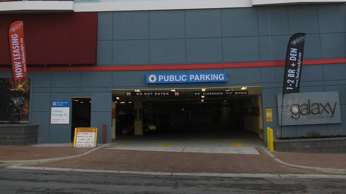 The recently opened Galaxy Parking Garage on King Street in Silver Spring, MD. Opened in March 2012