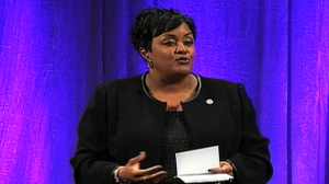 """DeRionne Pollard, Montgomery College President, delivered her first """"State of the College"""" address on April 11."""