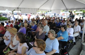Gaithersburg Book Festival Attendees listen to an author.