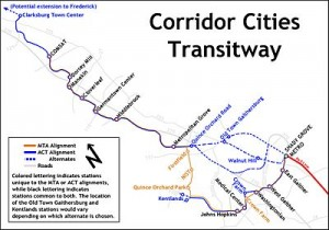 Diagram of Corridor Cities Transitway Montgomery County Maryland