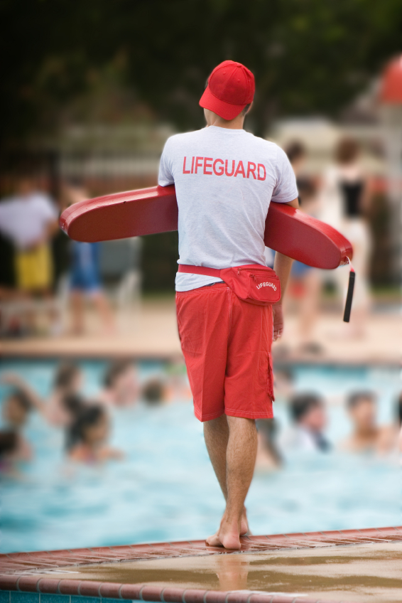 Image of Lifeguard on duty in swimming pool