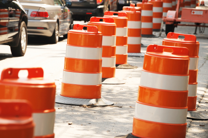 picture of road construction cones