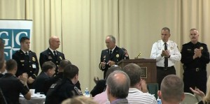 Fire Chief Richard Bowers presents Distinguished Service Citation