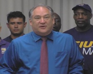 Marc Elrich speaks at the July 30th press conference on Displaced Workers Bill