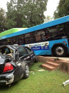Image of Ride On Bus crashed into a house