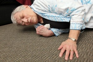 Elderly woman who fell