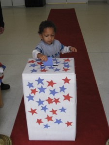 3 yr. old Chase Reaves casts his ballot