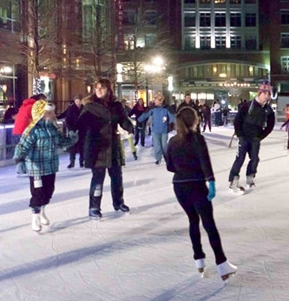 Image of Rockville Town Square Ice Rink at night
