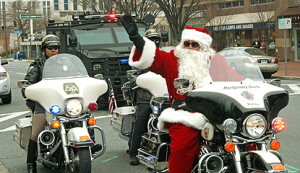 Santa riding on a motorcycle