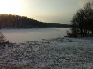 Lake Needwood remains frozen from this harsh winter.