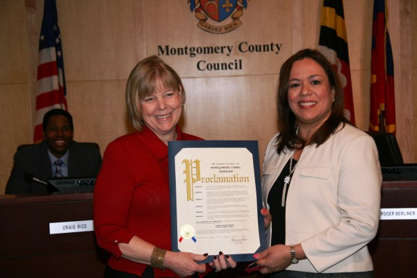 Council President Nancy Navarro and Council-member Nancy Floreen Present the Women's History Month Proclamation