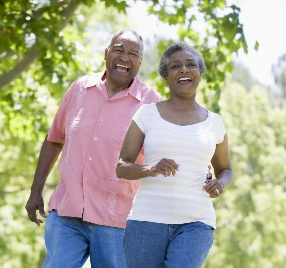 photo older African American couple on a walk