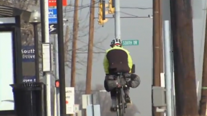photo bicyclist on way to work