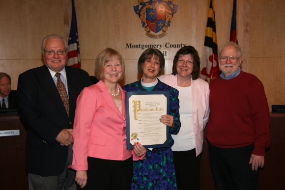 photo councilmember Floreen presenting proclamation