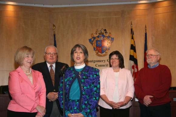 Councilmember Nancy Floreen, Brent Grimes, Rev. Linda Calkins, Lois Leigh, and George Leigh