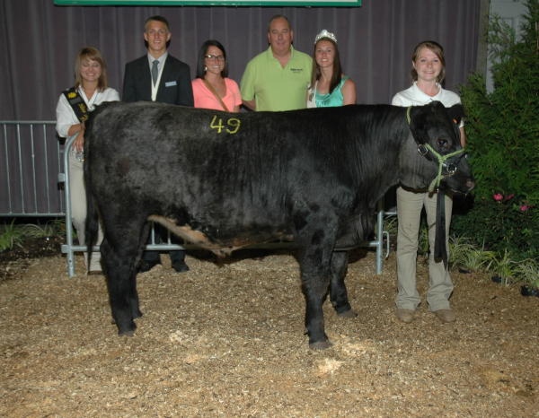 Left to right: Unknown, 2013 Fair King Dunchadhn Lyons, MAFCU Marketing Specialist Brittany Hilton, MAFCU VP Chief Lending Officer Scott Ritter, 2013 Fair Queen Hannah Adkins, 4-H Exhibitor and steer owner Sydney Wade Photo   Wyatt Griffith