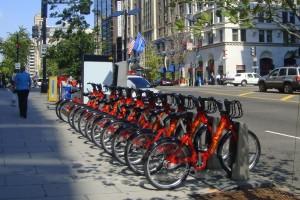 Capital Bikeshare rental station near McPherson Square Metro (WMATA) station, downtown Washington, D.C.