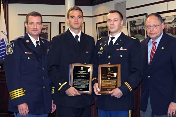 Police Chief Mark Sroka, Ensign John Hunt, Lieutenant Wells Weymouth, Mayor Sidney Katz Photo   City of Gaithersburg/Britta Monaco