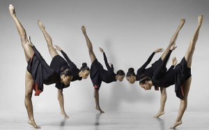 The Philadelphia Dance Company performs Enemy Behind the Gates by Christopher Huggins. From left to right are dancers Teneise Mitchell, Mora Amina Parker, Erin Barnett, Erin Moore, and Tracy Vog.