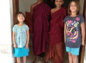 temple girls with monk