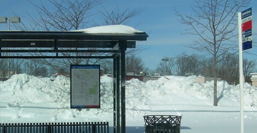 photo of Metro bus stop in snow weather
