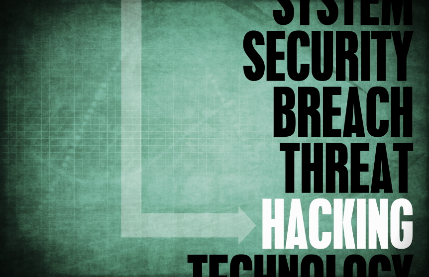 graphic with words system security breach threat hacking technology