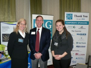 """(l:r) Master of Ceremonies Ibi Sofillas of My Realty Team with speakers Art Dwight of One Decision, LLC and Monica Spilman of 270net Technologies at the Gaithersburg-Germantown Chamber of Commerce's 7th Annual """"Grow Your Business"""" Seminar & Expo held on March 5th. (photo compliments of Laura Rowles, GGCC Director of Marketing & Events)"""