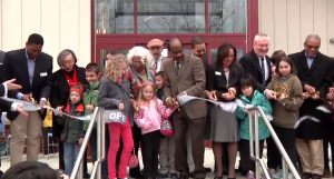 photo of ribbon cutting ceremony at Olney Library