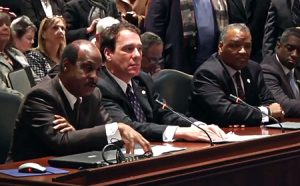 photo of Isiah Leggett testifying in Annapolis for increased funding for school construction