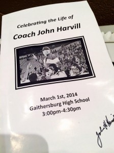 The program for celebration in honor of Coach John Harvill