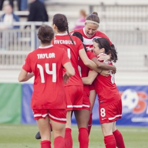 photo of Washington Spirit Celebrate Goal April 19, 2014