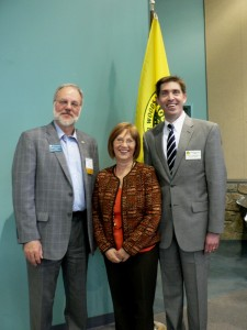 Photo of Therrien Waddell, Inc. President Jerry Therrien, GGCC Executive Director Marilyn Balcombe and Izaak Walton League of America Executive Director Scott Kovarovics
