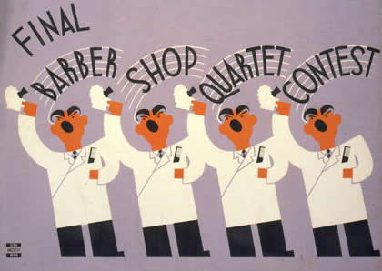 photo of WPA poster on barbershop contest