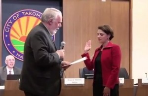 photo of Kate Stewart being sworn in as Takoma Park Ward 3 Council Woman