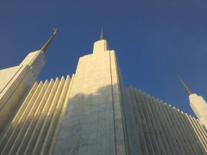 Merlyn shot this view of the LDS Temple in Kensington MD from its very base, an unusual view of the iconic building.
