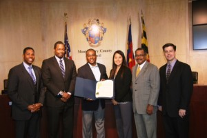 photo of left to right: Council President Craig Rice, who has made support of local businesses a priority during his term; Ralph King, Jr., of Columbia Bank in Rockville; Jerome Leonard of the Taylor-Leonard Corporation in Montgomery Village; Cathy Kim of the Gazette Newspapers; Antonio Doss, district director of the U.S. Small Business Administration; and Merlyn Reineke, executive director of Rockville-based Montgomery Community Media.