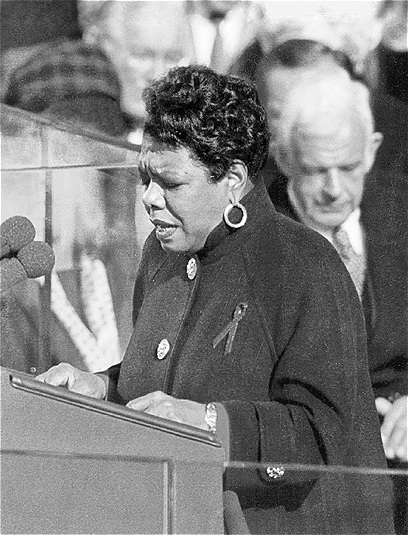 "Maya Angelou reciting her poem, ""On the Pulse of Morning"" at President Bill Clinton's inauguration in 1993 