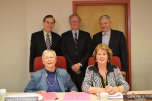 photo of Current Board members are : (Seated L-R) Carolyn J. Shawaker, Catherine G. Titus, Chair, (Standing L-R) Stanley B. Boyd, David K. Perdue, Vice-Chair, John H. Pentecost