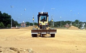 photo of grader working on lakelands park for installation of new organic turf