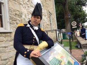 Park Ranger Vince Vaise portrays Gen. Monroe in the Brookeville U.S. Capital for a Day event.