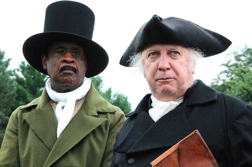 photo of Isiah Leggett and James Madison at U.S. Capital for a Day celebration in Brookeville