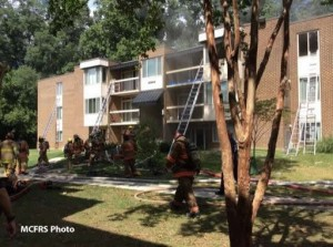 photo of apartment fire in Aspen Hill