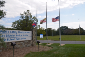 photo of Public Service HQ 9/11 Flags Half Staff
