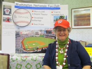 Mary Jane Phillips, a resident of Riderwood retirement community, recruits members for the Washington Nationals Fan Club, which she formed in 2014.