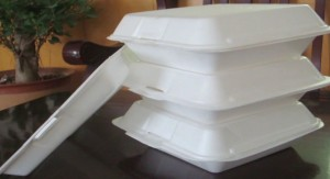 photo of polystyrene food containers