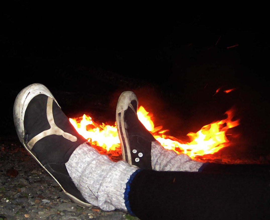 photo of feet on fire