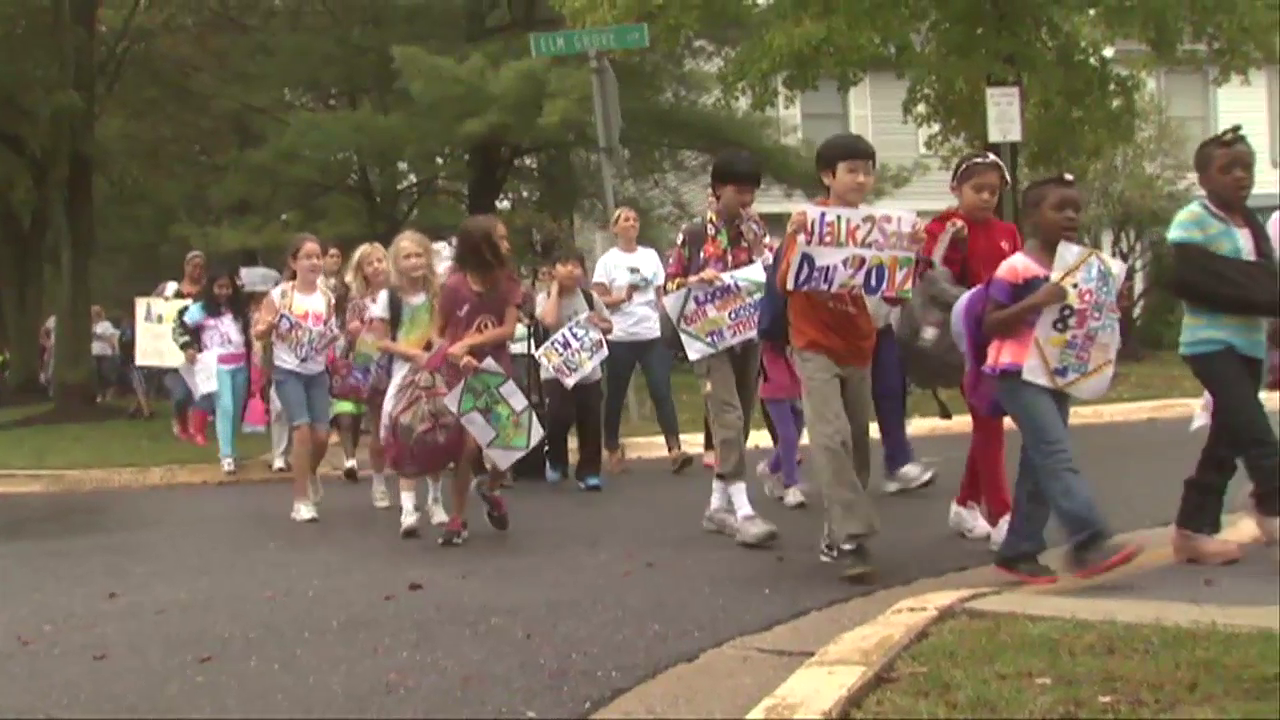 photo of students participating in Walk to School Day
