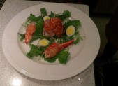 arugula salad with lobster and quail egg
